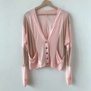 Free People pink and khaki loose fit cardigan